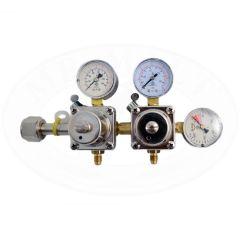 Riduttore di pressione per CO2 a due vie